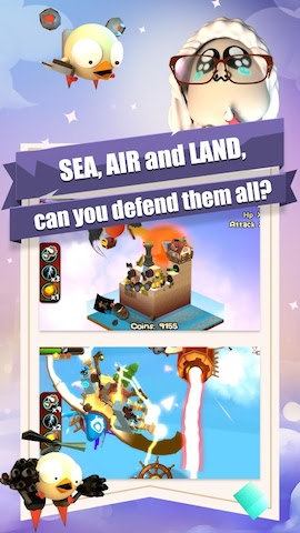 3DTD: Chicka Invasion Screenshot 5 - SEA, AIR and LAND, can you defend them all?